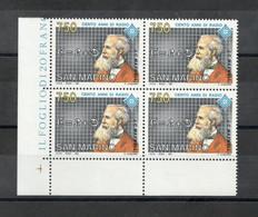 San Marino - 1991 - Quartina  Da Lire 750 - Cento Anni Di Radio - Nuova** - (FDC27486) - Unused Stamps
