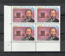 San Marino - 1994 - Quartina  Da Lire 750 - Cento Anni Di Radio - Nuova** - (FDC27488) - Unused Stamps