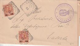 A46. Casapulla. 1906. Annullo Tondo Riquadrato CASAPULLA (CASERTA) + Timbro MUNICIPIO, Su Lettera Affrancata Senza Testo - Marcophilia