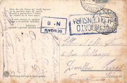 21-698 : CARTE POSTALE AVEC CACHETS DE FRANCHISE MILITAIRE. VERIFICATO CENSURE. BENGASI N° 8  24 AVRIL 1917. - Zonder Classificatie