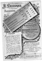 1 Carte A. Destanque Propriétaire NARBONNE Aude Prix Des Vins 1892 Vignobles Dans Le Narbonnais  & Le Blayais Gironde - Wine