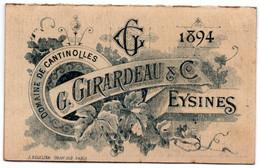Calendriers 1894 Domaine De Cantinolles G.Girardeau & C° Eysines Bitter  L'Amer Métraille Au Vieux Vin De Porto 1893 - Wine