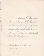 LUXEMBOURG  Mariage PESCATORE Maurice Et BARBANSON Gabrielle 1896 Les 2 Faire-part échangés - Obituary Notices