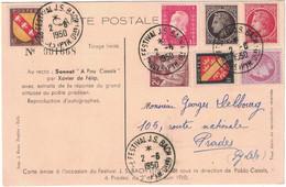 Pyrénées Orientales - Prades - Cachet Festival J.S. Bach - Carte Postale Avec Bel Affranchissement -  2 Juin 1950 - Commemorative Postmarks