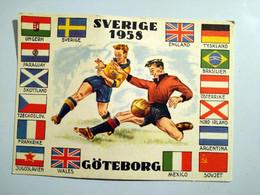 Football Coupe Du Monde 1958 Sverige Suede Goteborg Carte Rare Pliure Coin Haut Gauche - Voetbal