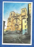 CP 43 La Chaise Dieu Abbatiale Saint Robert Aquarelle Fabian Grégoire 2005 Librairie L' Oie Bleue - La Chaise Dieu