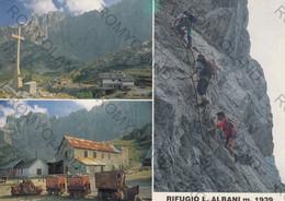 CARTOLINA REFUGIO L ALBANI, M.1939, BERGAMO, LOMBARDIA, GRUPPO DELLA PRESCOLANA, MONTAGNA, VERDE, VACANZA, NON VIAGGIATA - Bergamo