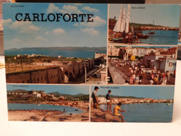 Cartolina  Carloforte Prov Sardegna Sud, Baia D'Argento, Vecchie Mura, Pescatori, Vele A Riposo 1970 - Iglesias