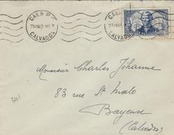 1942- Enveloppe De Caen ( Calvados ) Affr. N°541 ( Lapérouse ) Pour Bayeux - 1921-1960: Modern Period
