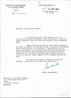 Lettre De Michel Poniatowski Comme Ministre De La Santé, 14/5/1974 - Handtekening