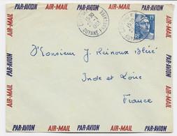 GANDON 15FR BLEU LETTRE AVION CAYENNE 23.1.1953 GUYANE FRANCAISE - 1945-54 Marianne (Gandon)