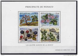 MONACO BLOC N° 74 LES QUATRE SAISONS DE LA RONCE NEUF ** TTB LUXE 1996 - Blocks & Kleinbögen