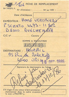 FICHE DE REMPLACEMENT N° 1418 R.V. De MUCHEN RFA Pour ORLEANS 16 DEC 1986 – Refusé Par Destinataire Le 17/12/86 - Documentos Del Correo