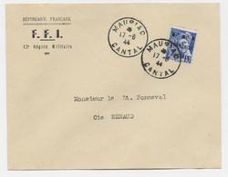 LIBERATION 10C MERCURE SURCHARGE FFI FRANCHISE POSTALE LETTRE ENTETE FFI MAURIAC 17.8.1944 CANTAL - Liberation