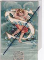 Lettre De L'Alphabet ; S  Avec Ange (carte Gaufrée De 1905) - Angeles