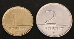 HONGRIE - HUNGARY - LOT DE 2 PIECES - 1 FORINT 1992 - 2 FORINT 1996 - KM 692 Et KM 693 - Hungary