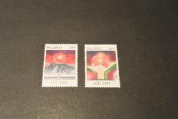 K12016- Set MNH Iceland - Island -1991-  SC. 747-748-  Christmas - Unused Stamps