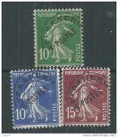 France  Préoblitéré N° 51 / 53  XX  Type Semeuse Fond Plein : Les 3 Valeurs  Sans Charnière, TB - 1893-1947