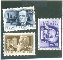 1955 BELGIQUE Y & T N° 973 - 974 - 975 ( ** ) Les 3 Timbres - Usados