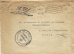 """1943- Enveloppe En Franchise """" Le Chef . De L'Efat Français """"  + Cachet Avec Francisque Du Secrétaire Particulier - Guerra De 1939-45"""