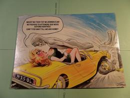 Girl In Car - Accident - Statue - Meisje In Auto Met Ongeval En Beeld Dat Op Haar Valt -  - Bamforth Comic - Humor