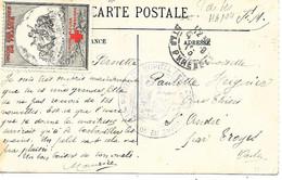65-cachet Hôpital Aux. N°104 à Tarbes Et Vignette Croix-Rouge Sur CP En 1915 - Guerra De 1914-18