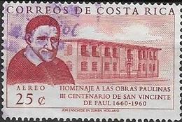 COSTA RICA 1960 Air. 300th Death Anniversary Of St Vincent De Paul - 25c  St. Vincent De Paul & Two-storey Building FU - Costa Rica
