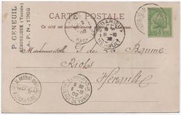 Tunisie Timbre Oblitéré Distribution Auxiliaire Bilingue EL AKHOUAT MINES + Cachet Bureau De Rattachement 1902 SUP! - Storia Postale