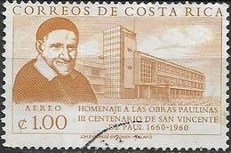 COSTA RICA 1960 Air. 300th Death Anniversary Of St Vincent De Paul - 1col. Modern Building FU - Costa Rica