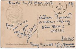 INDOCHINE Carte FM De CANTHO 1948 Marin Aviso LA MOQUEUSE + Cachet POSTE NAVALE (= PN 91 Saïgon) > FRANCE - Guerra D'Indocina/Vietnam