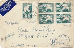 N° 761 Conférence Paix Bloc De 4 + 1ex Sur Lettre AVION > Angleterre Au TARIF EXACT - St CAST Cotes Du Nord 20/8/46 - 1921-1960: Moderne