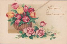 Fêtes : Anniversaire : Heureux Anniversaire : Panier De Tulipes Et Roses : Photochrom  N° 212 - Cumpleaños