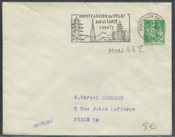"""SANTÉ - FRANCE N° 1115A O.M. MONFAUCON-EN-VELAY LE 13/6/1959 """" MONTFAUCON DU VELAY AIR ET SANTÉ ( 930m ) """" SUP - Polucion"""