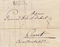 LETTRE. SUISSE. 24 AVRIL 1805. MERIUN DU SAUVAGE BASLE POUR COUVET NEUCHATEL. BASEL. TAXE 8. ABSINTHE - ...-1845 Voorlopers