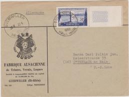 FRANCE 1952 Enveloppe Pour Offenbach (US Zone) N°YT 928  Viaduc De Garabit Seul Cachet Guebwiller (Haut Rhin) 30.5 1952 - 1921-1960: Modern Period