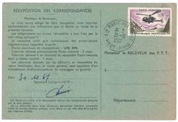 1967 - TIMBRE POSTE AÉRIENNE PA N°41 10F ALOUETTE SEUL Sur ORDRE DE REEXPEDITION CAD STE MARIE AUX MINES HAUT RHIN - 1961-....