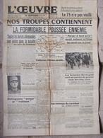 Journal L'Oeuvre (9 Juin 1940) Nos Troupes Repoussent L'ennemi - Erreur Et Trahison - Maintien De L'ordre Pays Occupés - Algemene Informatie