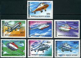 Mongolie Mongolia 1987 Mil Mi-12, Mi-17, Mi-10, Westland WG-30, Bell Jet Ranger, Kawasaki-Hugues 369, Kamov Ka-32 - Elicotteri