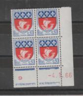 """FRANCE / 1962 / Y&T N° 1354B ** : """"Blason De Villes"""" (Paris) X 4 Coin Daté 1666 01 04 ( ) En Rouge - 1960-1969"""