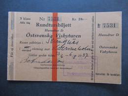 Schweden 1937 Rundtursbiljett Huvudtur D Östsvenska Visbyturen Rundreise Ticket Ab Stockholm Zug / Schiff?? - Europe