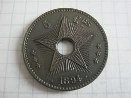 Congo Belgian  5 Centimes 1894 - 1885-1909: Leopoldo II
