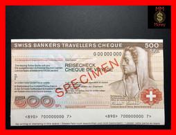 Switzerland  500 Francs  Travellers Cheque   Specimen   UNC - - Switzerland