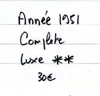 Annee 1951  Complete.........TOUS LES TIMBRES SONT LUXES** ET GOMME ORIGINALE - Unused Stamps