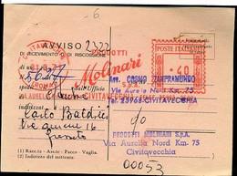 502 AFFRANCATURA MECCANICA ROSSA , CIVITAVECCHIA PRODOTTI MOLINARI - Marcofilia - EMA ( Maquina De Huellas A Franquear)