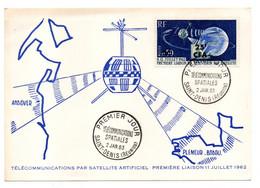 Réunion--1963--FDC--Carte-Maximum Télécom Spatiales--Plemeur-Bodou-22--Andover-cachet SAINT DENIS RP - Storia Postale