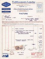 """Ancienne Facture Lettre 1934 """"Huiles Minerales"""" MARGOIL, TEXOIL, LUBROYL, Pantin - Alimentare"""