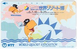 JAPAN H-128 Magnetic NTT [331-279] - Cartoon, Animal, Fish - Used - Japón
