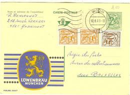 """PUBLIBEL 2525 F """" LÖWENBRÄU MÜNCHEN """" De Andrimont Cachet De DISON 1983 - Publibels"""