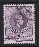 Swaziland: 1938/54   KGVI     SG36b   2/6d   [Perf: 13½ X 14]   Reddish Violet  Used - Swaziland (...-1967)
