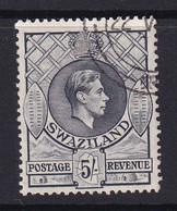 Swaziland: 1938/54   KGVI     SG37   5/-   Grey   [Perf: 13½ X 13]     Used - Swaziland (...-1967)